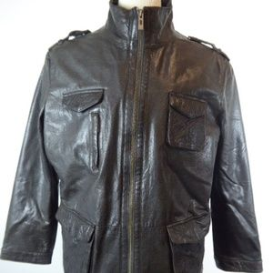 Zara black leather moto jacket xl